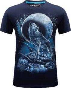 3fc1cba8 Men Moonlight Lonely Wolf Short Sleeve Blue T-shirt Black Friday Back To  School Happy