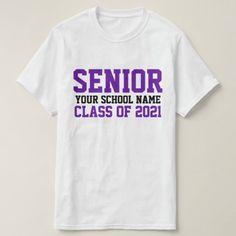 Senior Class 2021 Purple Custom School Graduation T-Shirt Senior Class Shirts, Graduation Shirts, Old Lady Costume, Homecoming Spirit Week, Varsity Letter, Crazy Hat Day, Online Gift Shop, Class Of 2020, Graduate School
