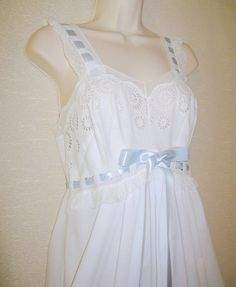 Vintage White Night Gown // Ribbons Lace by PastPiecesVintage