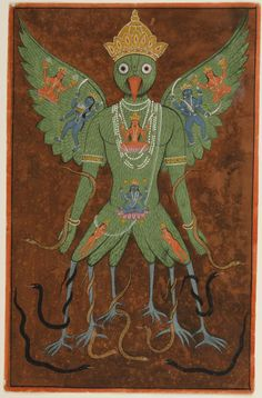 Tantric Painting of Garuda  Artist/maker unknown, Indian  Geography: Made in Gujarat, India, Asia Date: 19th century Medium: Opaque watercolor and gold on paper Dimensions: Image: 12 1/2 × 7 15/16 inches