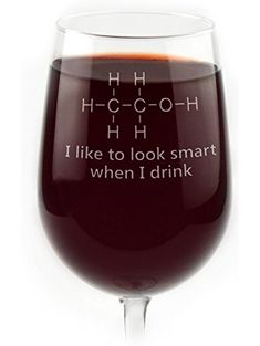 Engraved Chemistry of Alcohol Funny Wine Glass ❤ Glass With a Twist