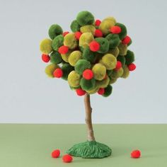 Tree made out with pom-poms