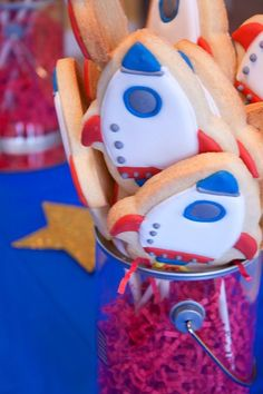 ROCKET SHIP COOKIES   1 Dozen decorated sugar cookies by batches, $35.00
