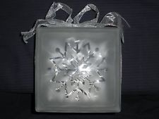 Christmas Snowflake Design with white lights on an 8x8 Glass Block