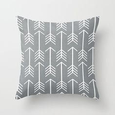 Throw Pillow Cover - Boho Graphic Arrows - Black, Blue/Aqua or Grey with White Arrows