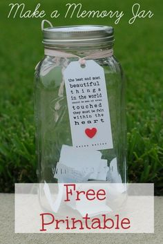 Memory jar - 31 Best Free Printables and Templates for Mason Jars – Memory jar Mason Jars, Mason Jar Gifts, Diy Para A Casa, Prayer Jar, Goodbye Party, Goodbye Gifts, Gratitude Jar, Happy Jar, 90th Birthday Parties