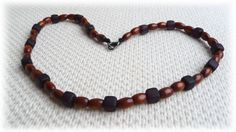 Men's Necklace - Wood  and  black frosted beads - Handmade Jewelry on Etsy, $20.82