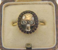 A Magnificent Georgian Memento Mori Skull, Enamel & Garnet Ring Dated 1773