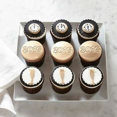 New Years Cupcakes   Countdown Cupcakes   Recipe   The One Stop DIY     Happy New Year Cupcakes  Set of 9  williamssonoma