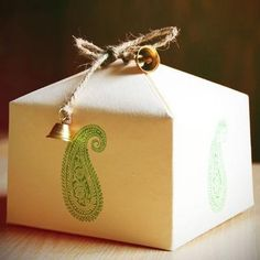 Handmade paper box with a stamped paisley print, twine & gold bells. Gorgeous idea for Christmas! Wedding Favours, Wedding Gifts, Wedding Cards, Wedding Decor, Party Favors, Wedding Invitations, Diwali Gift Hampers, Handmade Paper Boxes, Diwali Gifts