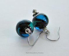 Lampwork Drop Earrings Turquoise Black SRA
