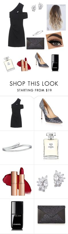 """""""classy party outfit"""" by annexx00 ❤ liked on Polyvore featuring Dsquared2, Jimmy Choo, BillyTheTree, Chanel, Kenneth Jay Lane, LBD, classy, glitter and redlipstick"""