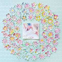 "Is there anything more fun or Spring than flowers? Add some serious flower power to your crafting with the adorable ""Bloom Street"" collection from Pink Paislee and Paige Taylor Evans. Scrapbook Page Layouts, Scrapbook Pages, Scrapbooking Ideas, Flower Petals, Flower Art, White Paint Pen, Diy Craft Projects, Crafts, Baby Scrapbook"