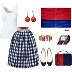 """""""Blue, red and white"""" by lellelelle on Polyvore"""