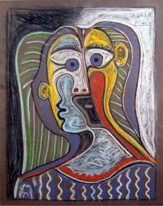 Pablo Picasso - Portrait de Femme, 1962. Pastel.