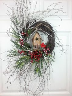 Christmas Wreath, Birch Wreath, Holiday Wreath, Christmas Wreath with Frosted Branches and Birdhouse by HeatherKnollDesigns on Etsy