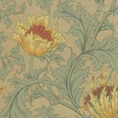 Best of Morris Anenome in Sage by Barbara Brackman for Moda Quilt and Craft Fabric #8217-31