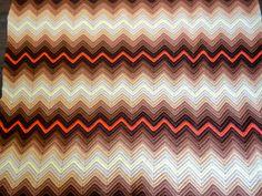 Vintage Afgan Chevron Zig Zag  Blanket in Orange Pale by KimBuilt, $19.75