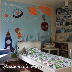 THE ORIGINAL Children Wall Decal Wall Sticker Kids Decal -  Nursery Outer Space Theme with Stars, Spaceship and Astronaut- PLOS010R. $119.00, via Etsy.