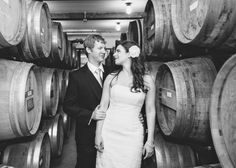 Winery wedding - with the barrels
