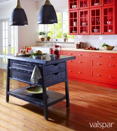 Bright reds echo ripe organic ingredients to energize a busy space such as a kitchen. Red Kitchen, Kitchen Dining, Kitchen Decor, Kitchen Ideas, Kitchen Lamps, Kitchen Island, Dining Room, Valspar Paint, Home Board