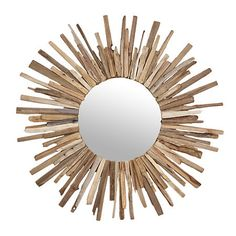 Rustic Driftwood Sunburst Mirror, 43 in. | Kirklands