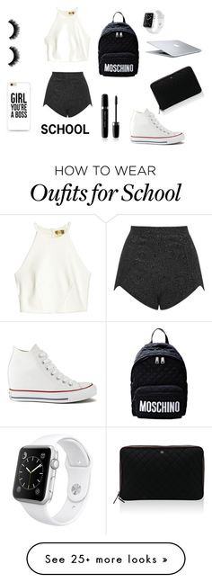 """SCHOOL"" by lily-blackman on Polyvore featuring Oh My Love, Moschino, Converse, Marc Jacobs, Apple, MAC Cosmetics and Chanel"