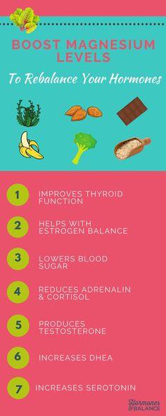 Boost Magnesium Levels to Rebalance Your Hormones – Menopause Magnesium Benefits, Magnesium Sleep, Cortisol, Balance Hormones Naturally, Foods That Balance Hormones, Increase Serotonin, Cure Diabetes Naturally, Menopause Symptoms, Menopause Relief