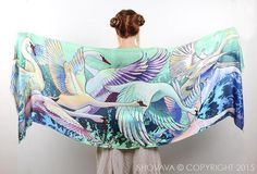 Amazing gift for boho lovers. Scarves – Swans scarf, bohemian birds wings feathers shawl – a unique product by Roza-Khamitova via en.DaWanda.com