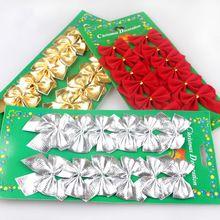 12ks / Lot Vianočný strom Decor Gold / Red / Silver bowknots Xmas Party Sulppies Tree Hanging Ornamenty Dekorácie Bow M931 (Čína (pevninská časť))