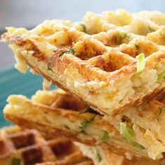 Use up leftover mashed potatoes to make these savory waffles full of cheddar cheese and sour cream.