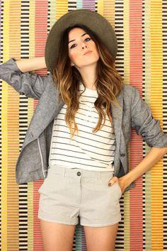 FashionCoolture - 16.11.2015 look du jour Gap striped shorts blazer (5)