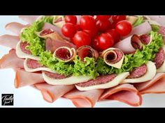 Красивая МЯСНАЯ НАРЕЗКА на Праздничный Стол! Оформление и Подача на Стол! - YouTube Snack Recipes, Snacks, Party Recipes, Cold Cuts, Food Platters, Appetizers For Party, Appetizer Ideas, Canapes, Caprese Salad