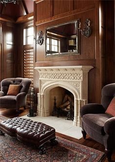 Bespoke Stone Fireplace, Beige Limestone Fireplace