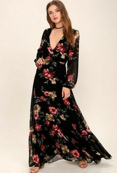 35bb36646ef9 30 Stunning hijab maxi dresses for spring-summer Black Floral Maxi Dress