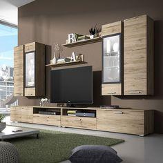 Ensemble meuble TV couleur chêne clair et gris contemporain IRINA 2