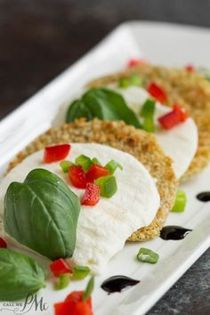 Oven Fried Green Tomato Caprese Recipe with Balsamic Reduction recipe - a simple twist to a southern tradition - with tomatoes, mozzarella, basil & cheese
