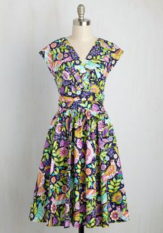 Attractive Imagination Dress - Multi, Purple, Floral, Print, Daytime Party, A-line, Short Sleeves, Spring, Woven, Best, Long, Cotton