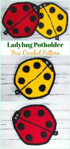 Crochet Ladybug Potholder Free Pattern- # Potholder Hotpad Free Patterns Crochet Pot Holder Hotpad Free Patterns: A collection of crochet potholders and hotpads free patterns, square, circle, flower and animal. Crochet Hot Pads, Crochet Towel, Crochet Potholders, Beginner Crochet Projects, Crochet For Beginners, Lady Bug, Crochet Ladybug, Crochet Chicken, Crochet Gifts