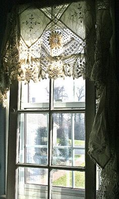 DIY: A Different Type of Window Treatment Tutorial ( she used 2 for four dollar salvaged windows as part of this tutorial.the result is amazing!) The salvaged windows cover up ordinary modern windows - really clever! Lace Valances, Lace Curtains, Roman Curtains, White Curtains, Window Curtains, Shower Curtains, Drapery, Sewing Curtains, Patterned Curtains