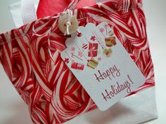 Mini Candy Cane Fabric Gift Bag Reusable by WildThymeThreads, $9.00