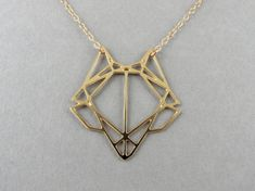 fox necklace geometric fox fox head by BonnyRabbitBoutique on Etsy