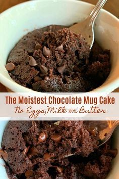 THE BEST CHOCOLATE MUG CAKE - No eggs, milk or butter needed! Ready in 2 minutes or less in the microwave. Super moist, absolutely delicious and simple to make.You probably have everything you need in your pantry to make this awesome budget friendly cake! Moist Chocolate Mug Cake, Microwave Chocolate Mug Cake, Mug Cake Microwave, Chocolate Mug Cakes, Chocolate Muffins, Best Chocolate, Chocolate Recipes, Microwave Dishes, Chocolate Lovers