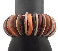 Ladies Shades of Dark Brown, Copper, & White Genuine Seashells Style Stretch Bracelet JOTW. $0.01. Genuine Seashells!. Great Quality Jewelry!. 100% Satisfaction Guaranteed!