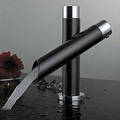 kingfly Robinet de Cuisine Noir Unique Poignée simple salle de bain lavabo robinet mitigeur débit cascade