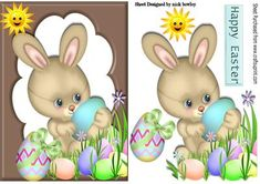 Easter bunny with chocolate eggs and sunshine on Craftsuprint designed by Nick Bowley - Easter bunny with chocolate eggs and sunshine, makes a lovely easter card - Now available for download!
