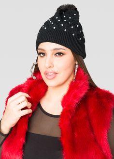 Jeweled Pom Pom Beanie Hat - Ashley Stewart