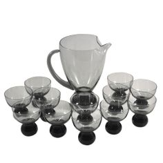 Smoke Glass Cocktail Pitcher Set