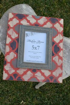 Coral, Navy Blue, Grey and Cream 5x7 Moroccan Print Distressed Frame. $35.00, via Etsy.