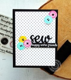 Sunny Studio Stamps: Cute As a Button Threaded Button Friendship Card by Vanessa Menhorn Sunnies Studios, Studio Cards, Sewing Cards, Creative Gifts, Creative Cards, Friendship Cards, Bird Cards, Button Crafts, Cards For Friends